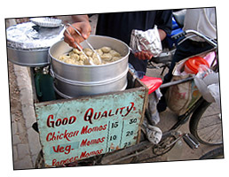Chicken dumplings on a bicycle